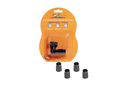 Колпачки на шинный вентиль,черные, пластик, 4 шт. AVC-01