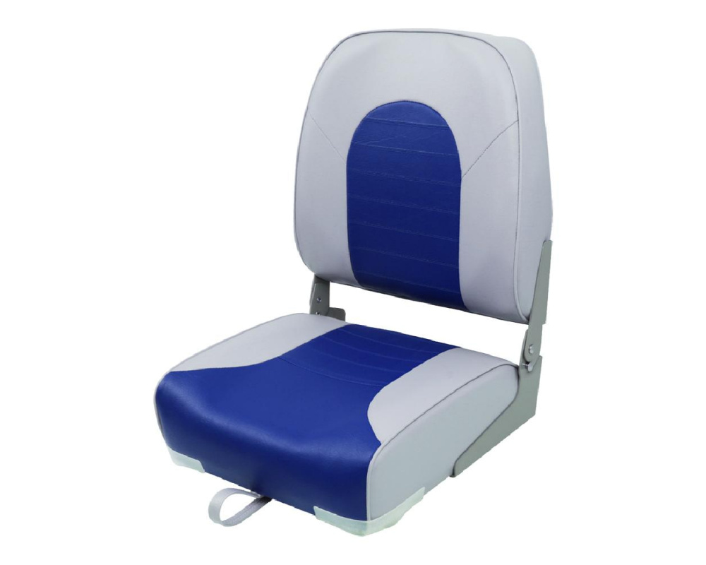 Кресло складное пластиковое с мягкими накладками, серый/синий