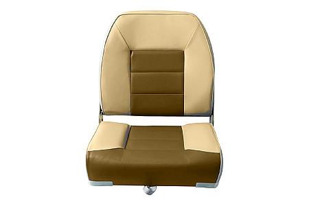 Кресло складное пластиковое с мягкими накладками, песочный/коричневый