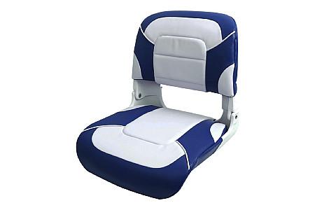 Кресло складное пластиковое с мягкими накладками,белый/синий