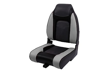 Кресло складное пластиковое с мягкими накладками, серый/угольный/черный