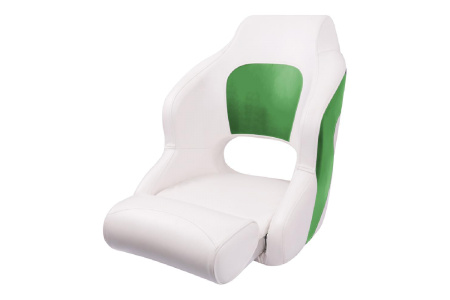 Кресло пластиковое с мягкой обшивкой и откидным валиком, белый/серый