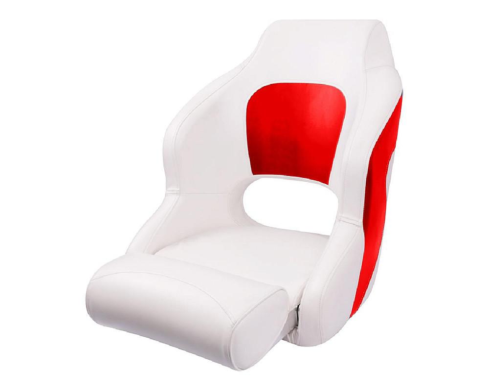 Кресло пластиковое с мягкой обшивкой и откидным валиком, белый/красный