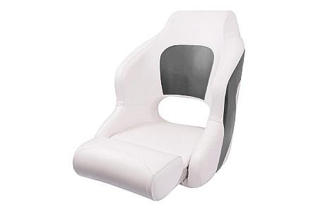 Кресло пластиковое с мягкой обшивкой и откидным валиком, белый/угольный