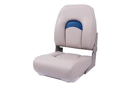 Кресло складное пластиковое с мягкими накладками, белый/синий