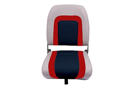 Кресло складное пластиковое с мягкими накладками, серыйкрасный/угольный
