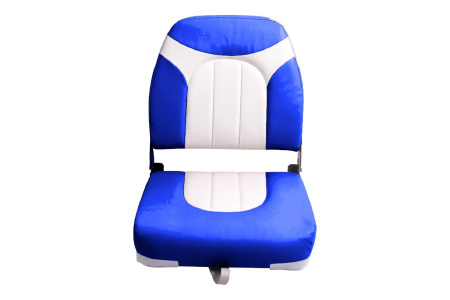 Кресло складное пластиковое с мягкими накладками, синий/белый