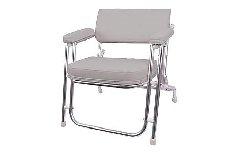 Кресло раскладное алюминиевое с мягкими накладками, серый