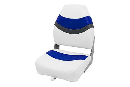 Кресло складное пластиковое с мягкими накладками, белый/синий/угольный