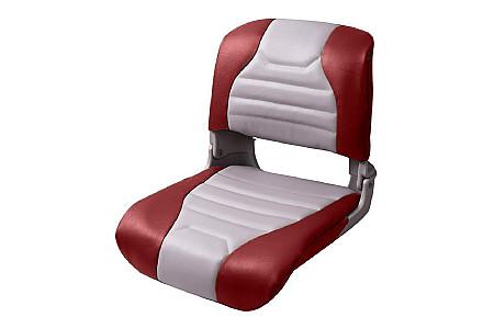 Кресло складное пластиковое с мягкими накладками,серый/красный