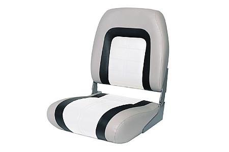 Кресло складное пластиковое с мягкими накладками, серый/угольный/белый