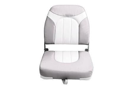 Кресло складное пластиковое с мягкими накладками, серый/белый