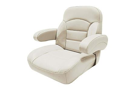 Кресло пластиковое с мягкой обшивкой и откидными подколокотниками, кремовый