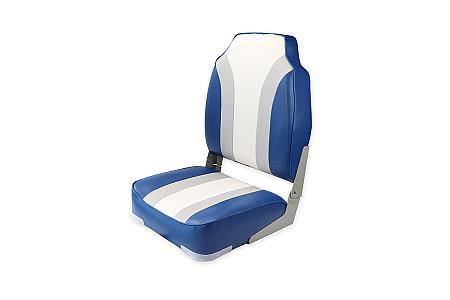 Кресло складное алюминиевое с мягкими накладками, синий/серый/белый